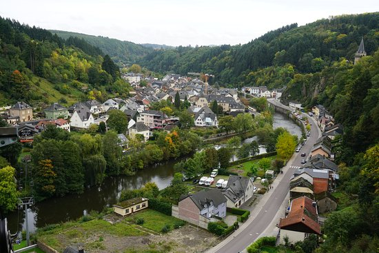 Vianden, Luxemburg: View of the village from chairlift