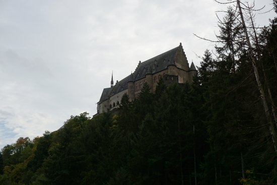 Vianden, Luxemburg: View of the castle from chairlift