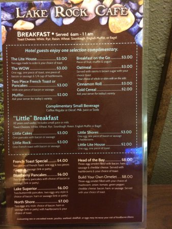 Quality Inn Ashland: Breakfast menu. Items in blue are complimentary.