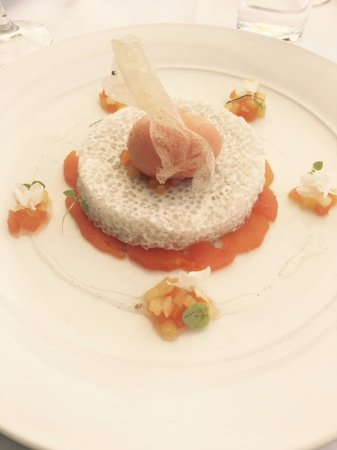 Rose Bay, Australien: COCONUT TAPIOCA PUDDING, PINEAPPLE AND PAPAYA SALAD WITH GUAVA SORBET