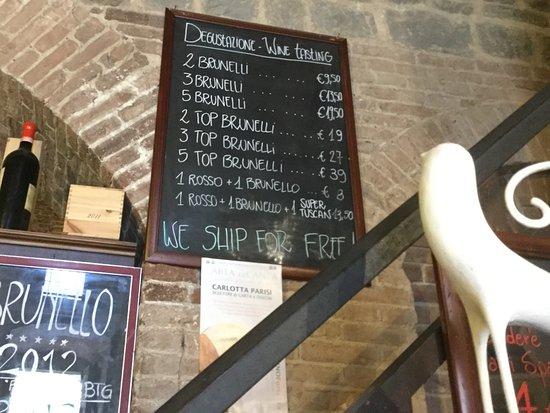 Montalcino, Italia: 試飲のメニュー