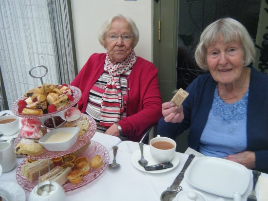 The Orangery, Lumby Hall: My two friends (Bet and Elsie) who gave me my birthday treat!
