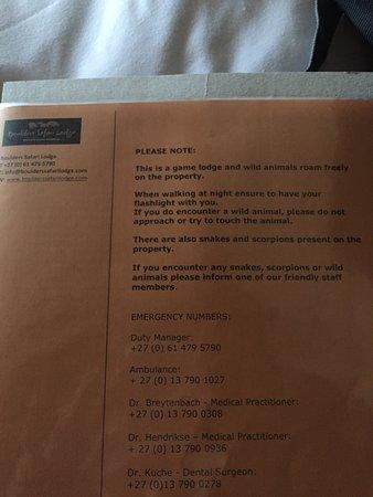 Malelane, Νότια Αφρική: Animal notice inside welcome book on the nightstand of the room.