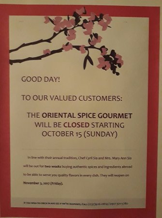 The Oriental Spice Gourmet: Notice from OSG: They'll reopen on November 3, 2017 (Friday).