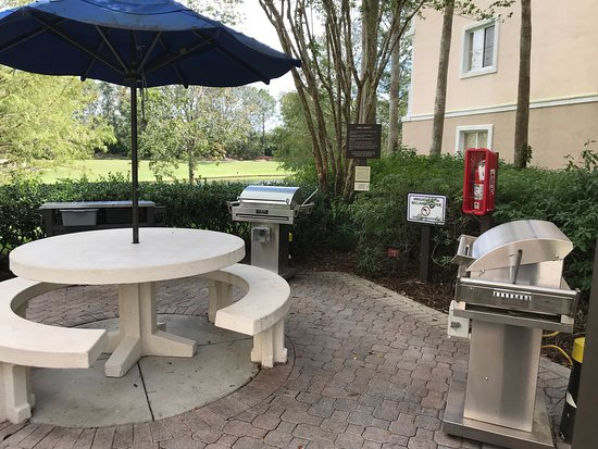 One of many outdoor grilling areas