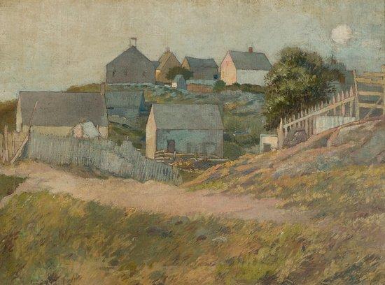 Greenwich, CT: George Wharton Edwards, (American, 1859-1950)  Farmhouses on Monhegan Island,