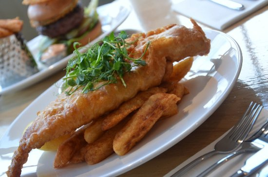 Lowick, UK: North Sea Haddock and Chips made with our very own gluten free beer batter.