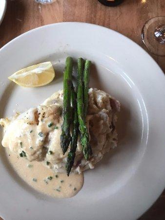 Yarmouth, ME: Baked seafood stuffed haddock