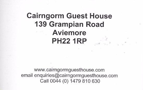 Cairngorm Guest House: גב כרטיס הביקור של הפנסיון
