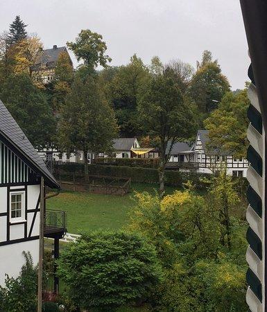 Oberkirchen, Alemania: Blick aus dem Zimmerfenster zeigt die ruhige Lage