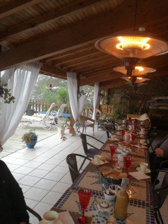Maison Gélous : petit dejeuner sous les parassols chauffants
