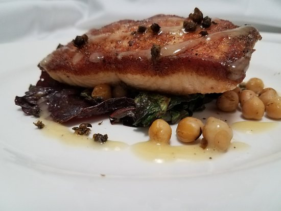 Lewiston, ME: Roasted salmon with chickpeas, cumin, Swiss card and lemon-honey vinaigrette