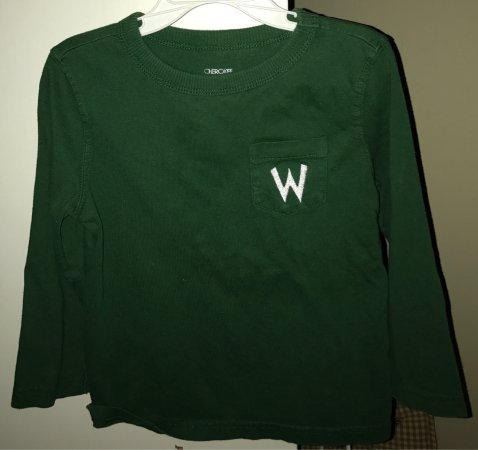 Cleveland, MS: A W monogram on my sons' long sleeve. Looks great, Heidi's!