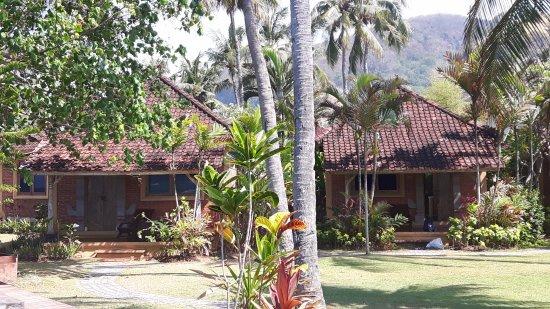 D'Tunjung Beach Resort : De huisjes met eigen terras.