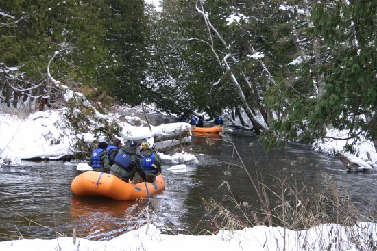 Wolverine, MI : Winter rafting is a great way to enjoy a winter adventure
