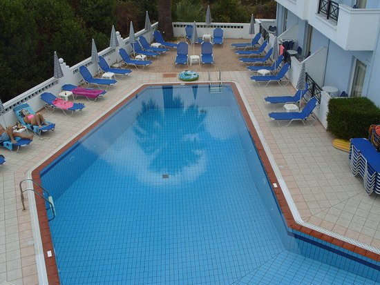 Athena Apartments : View of pool area from one of our balconies (located above pool bar)