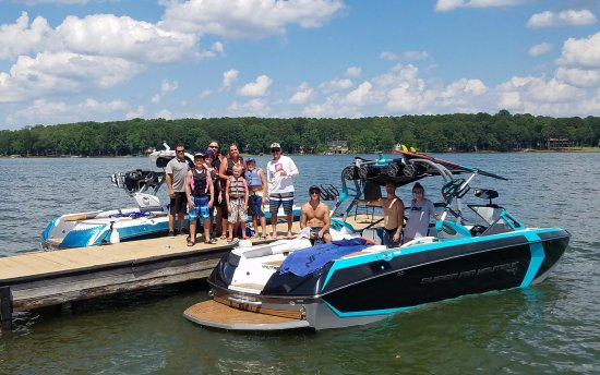 Young Harris Water Sports: Customers after a wonderful time on our Wake Boat for rent