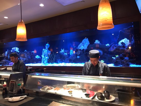 The sushi bar and a very cool aquarium - Picture of Kona ...