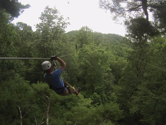 Scaly Mountain, NC: My husband zip zip zipping away...