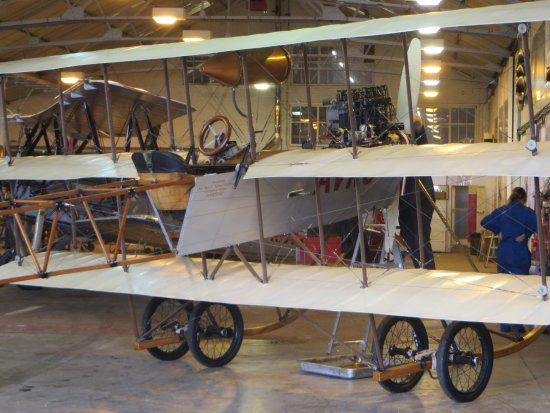 Old Warden, UK: R&M workshop - servicing the Roe IV Triplane replica