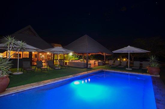 Nkorho Bush Lodge: Rim flow pool overlooking the waterhole and open area
