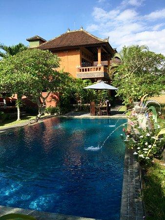 Mandala Desa: Pool & well kept grounds (my balcony too)