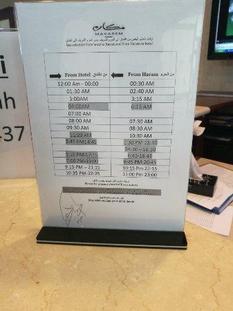 Makarem Al-Bait Hotel: مواعيد رحلات الباص من و إلى الحرم