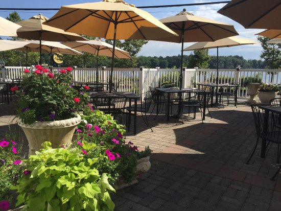 Beautiful outside dining on the patio picture of allora for Fish restaurant marlborough ma