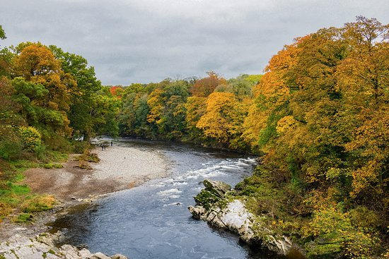 The view North of the River Lune from Devil's Bridge, Kirkby Lonsdale in the Autumn.