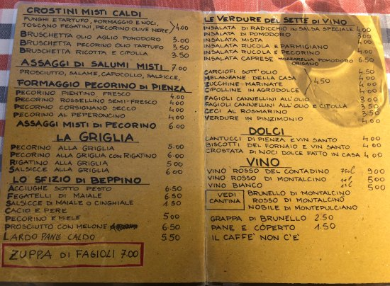 Sette di Vino: menu