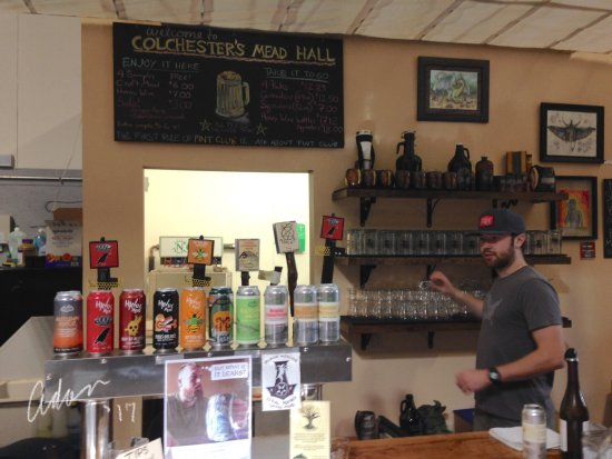 Colchester, VT: Ordering counter with menus and sample flavors of mead.