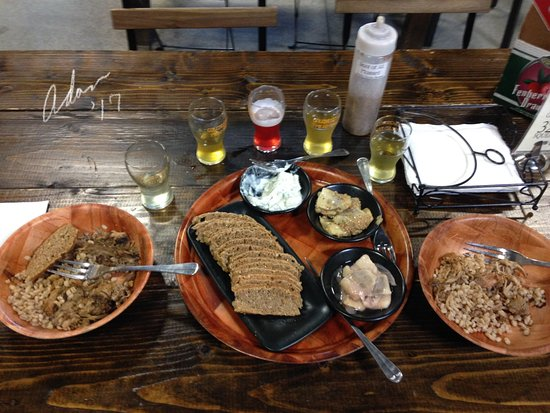 Colchester, VT : One order each of pulled pork with barley, black bread, and a three flavor set of herring.