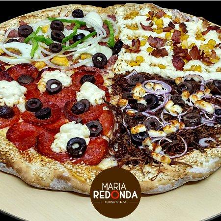 Maria Redonda: Portuguesa, Frango Premium, Carne do Sol e Peperoni Cream