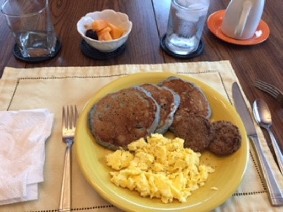 Harwich, MA: Blueberry Pancakes, Sausage, Scrambled Eggs, Fruit