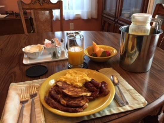 Harwich, MA: French Toast, Scrambled Eggs, Linguica, Fruit, Juice