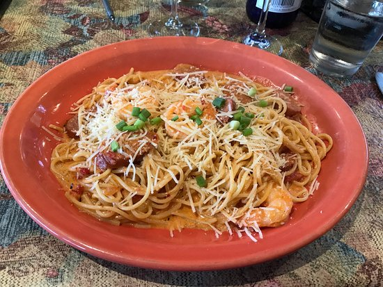 Maiden Rock, WI: Spicy Shrimp and Andouille Sausage Linguini