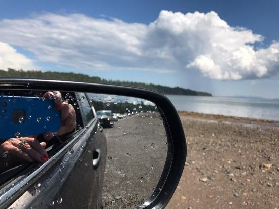 Saint Andrews, Canadá: Minister's Island - a trail of cars following us over