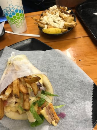 Lisle, IL: Marinated hand pressed meat spits for gyros  & a gargantuan Greek style quesadilla called a Skep