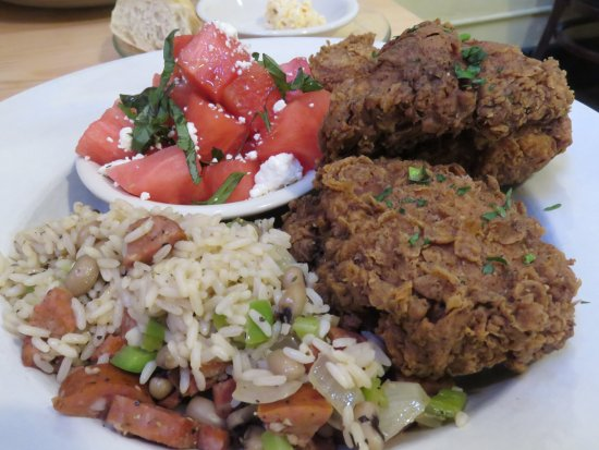 Loula's: Southern fried chicken and watermelon salad