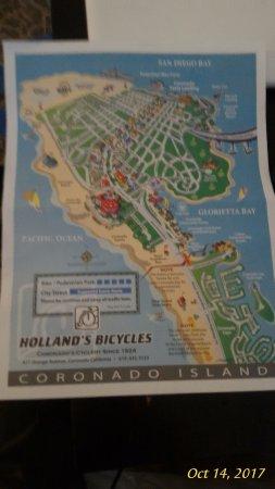 Coronado, CA: Bike map they provided