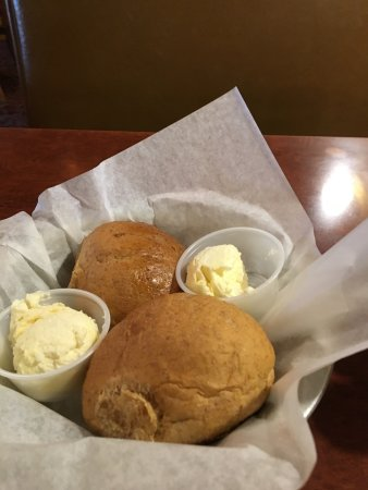 Columbus, TX: Wheat rolls with softened sweet butter