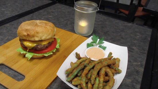 Wilton, ME: Fatties Classic burger with homemade fried green beans.