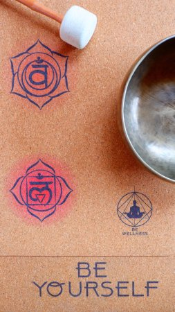 Gili Meno, Indonesia: Yoga Class on Natural Cork Mat with Chakra Colors and Singing Bowl Relaxation