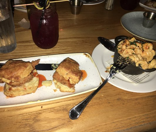 Yardbird - Southern Table & Bar : Fried chicken biscuits and side of mac + cheese. yum-o
