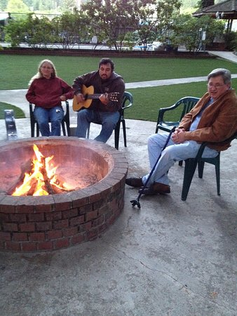 Miranda, CA: Fire pit and Kev's Guitar.....and a little Kermit the Frog drew a small crowd!