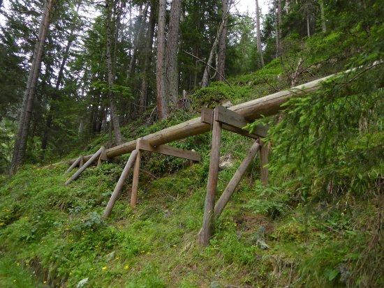 Solden, Austria: Waalwege Anlage, quer durch den Wald angelegt