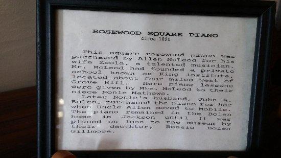 Grove Hill, AL: Description of Piano at Clarke County Museum