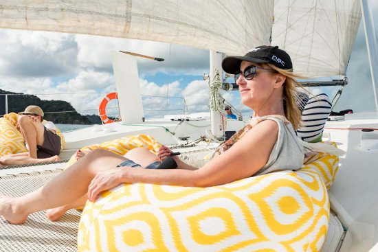 Paihia, New Zealand: Bean bags on a yacht??? Oh yeah! We like a little luxury, kick back and relax!