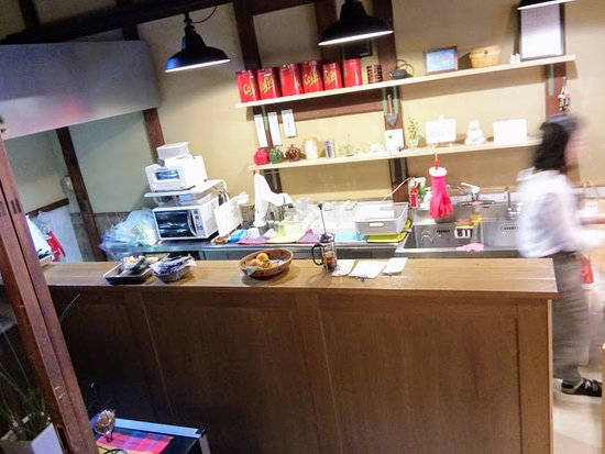 Nantan, Japão: Kitchen at Cafe Cotton.