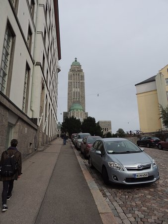 Kallio Church: Walking up to the church from a distance